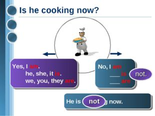 Is he cooking now? Yes, I am. he, she, it is. we, you, they are. He is cookin