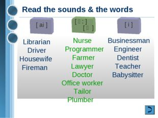 Read the sounds & the words [ ai ] Librarian Driver Housewife Fireman [ ә: ]