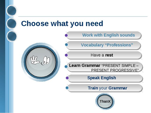 "Choose what you need Train your Grammar Vocabulary ""Professions"" Have a rest"