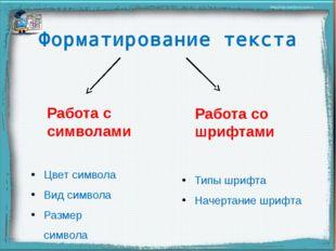 Форматирование текста Работа с символами Работа со шрифтами Цвет символа Вид