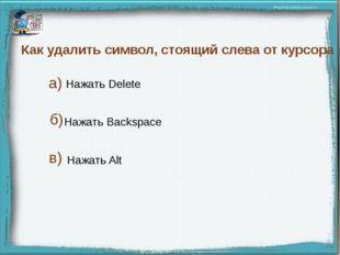 Как удалить символ, стоящий слева от курсора Нажать Delete Нажать Backspace