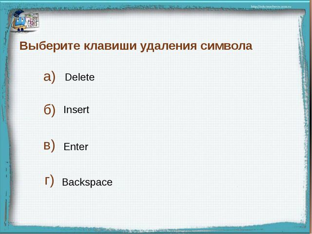 Выберите клавиши удаления символа Delete Backspace Enter а) б) в) Insert г)...