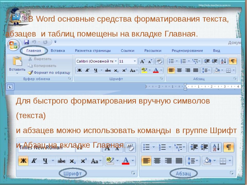 В Word основные средства форматирования текста, абзацев и таблиц помещены на...