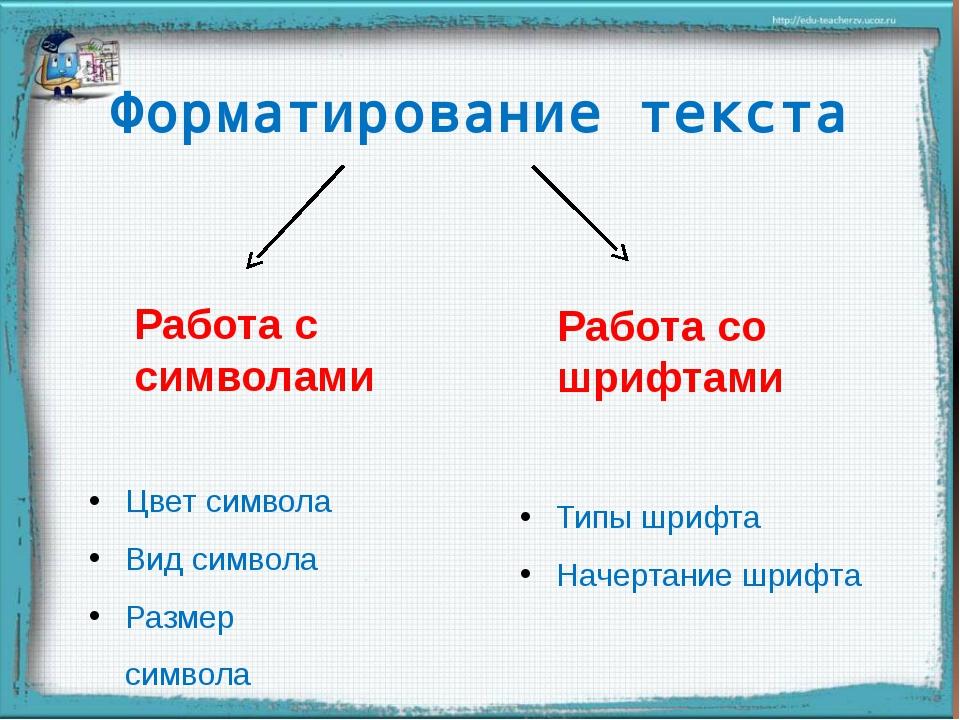 Форматирование текста Работа с символами Работа со шрифтами Цвет символа Вид...