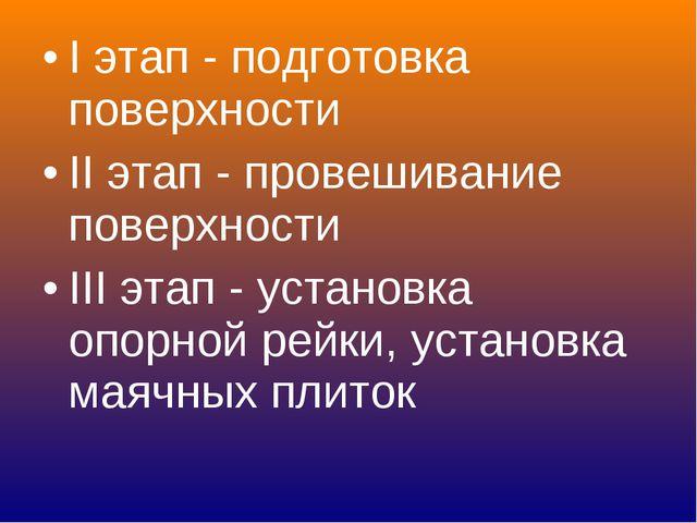 I этап - подготовка поверхности II этап - провешивание поверхности III этап -...