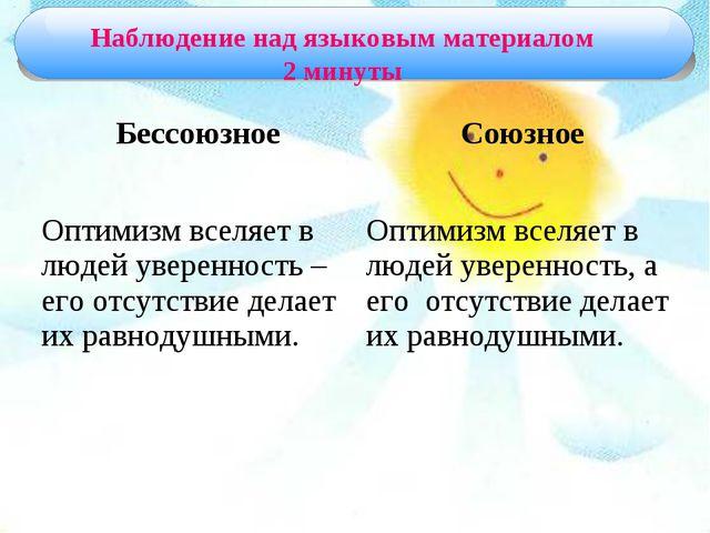 Наблюдение над языковым материалом 2 минуты БессоюзноеСоюзное Оптимизм вселя...