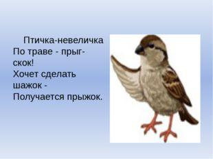 Птичка-невеличка По траве - прыг-скок! Хочет сделать шажок - Получается п