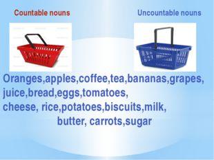 Countable nouns Uncountable nouns Oranges,apples,coffee,tea,bananas,grapes,j
