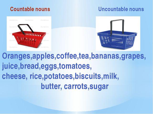 Countable nouns Uncountable nouns Oranges,apples,coffee,tea,bananas,grapes,j...