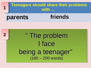 """"""" The problem I face being a teenager"""" (180 – 200 words) 1 2 Teenagers should"""