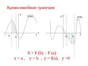 Криволинейная трапеция a b a b y x y x S = F (b) – F (a) x = a , y = b , y =
