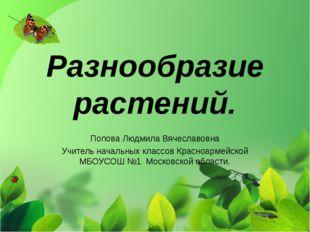 Разнообразие растений. Попова Людмила Вячеславовна Учитель начальных классов