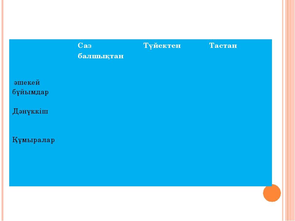 Саз балшықтан Түйектен Тастан әшекей бұйымдар Дәнүккіш Құмыралар