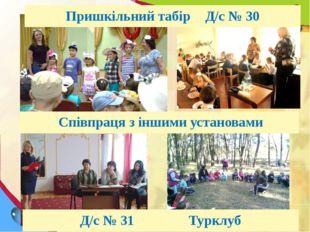 Зустрічі з цікавими людьми Співпраця з іншими установами Пришкільний табірД/