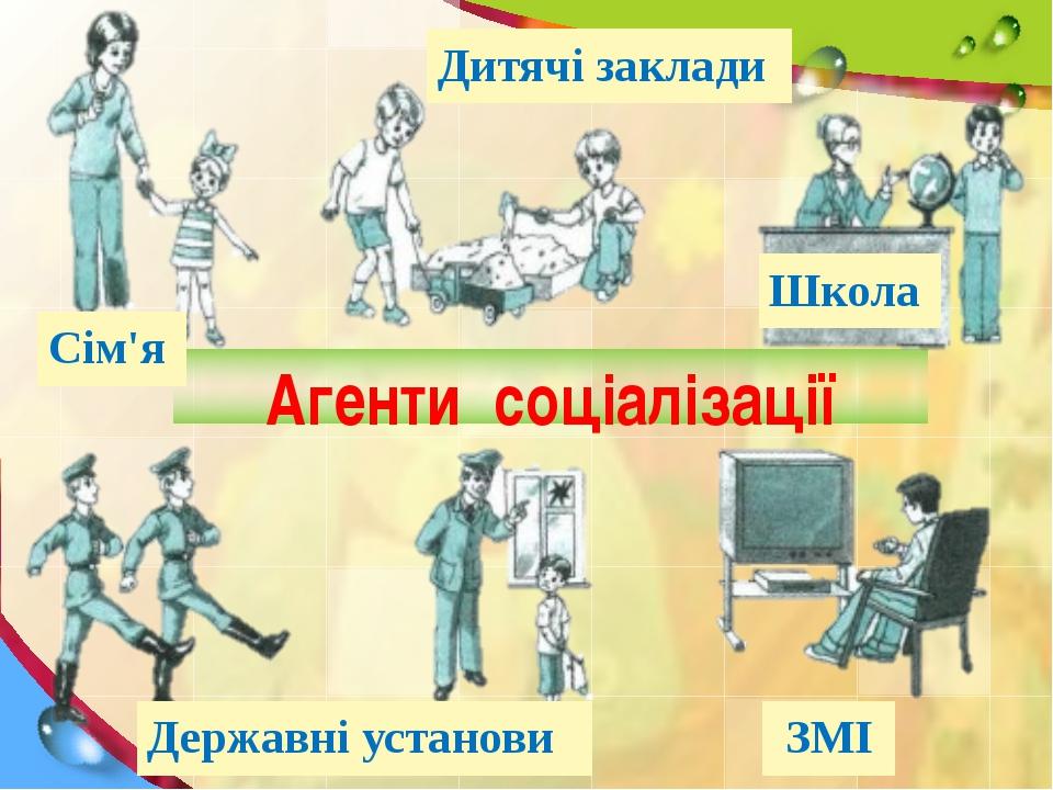 Агенти соціалізації Сім'я Дитячі заклади Школа Державні установи ЗМІ