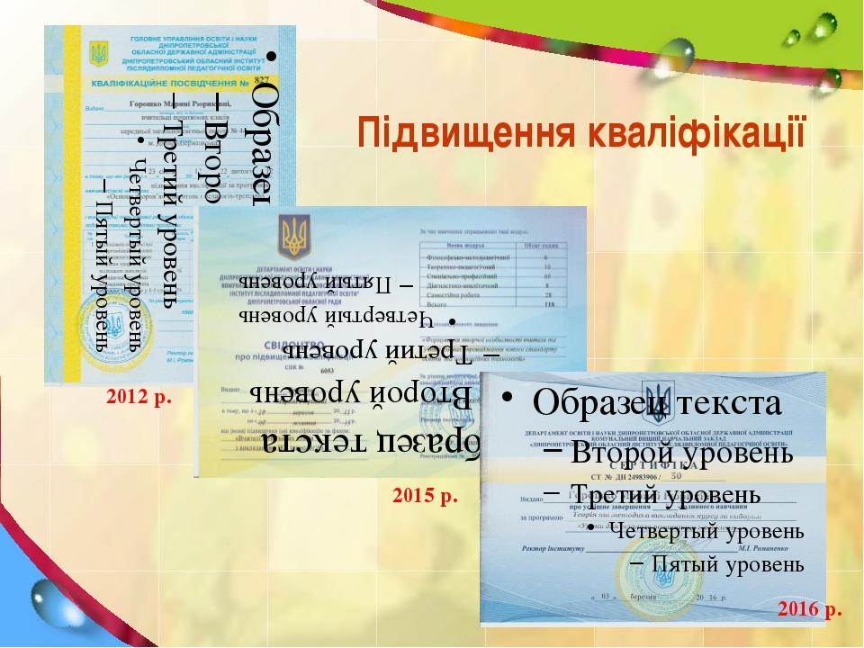 Підвищення кваліфікації 2012 р. 2015 р. 2016 р.