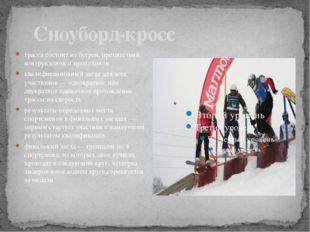 Сноуборд-кросс трасса состоит из бугров, препятствий, контруклонов и трампли