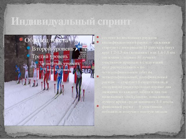 Индивидуальный спринт состоит из нескольких раундов квалификационный раунд —...