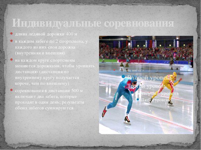 Индивидуальные соревнования длина ледяной дорожки 400 м в каждом забеге по 2...
