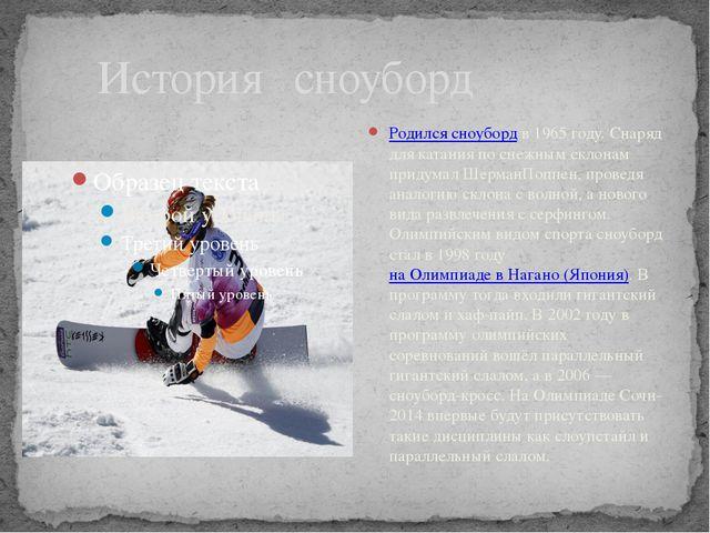 История сноуборд Родился сноубордв 1965 году. Снаряд для катания по снежным...