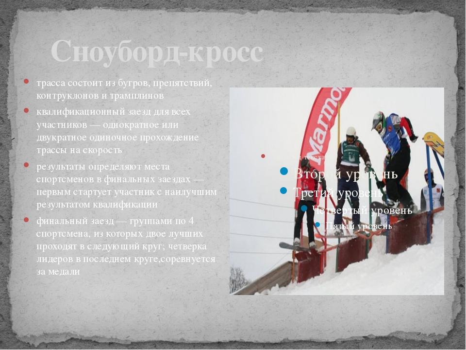 Сноуборд-кросс трасса состоит из бугров, препятствий, контруклонов и трампли...