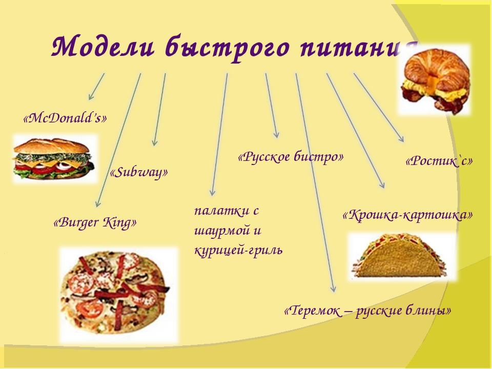 Модели быстрого питания «McDonald's» «Subway» «Burger King» «Ростик`с» «Русск...