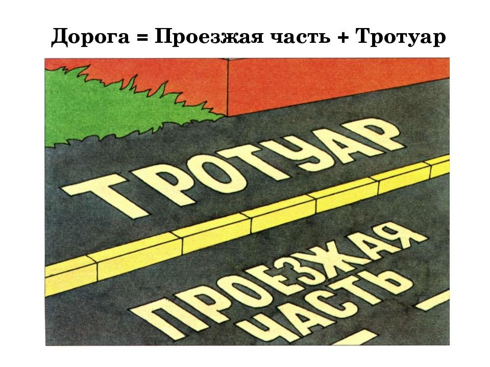 Дорога = Проезжая часть + Тротуар