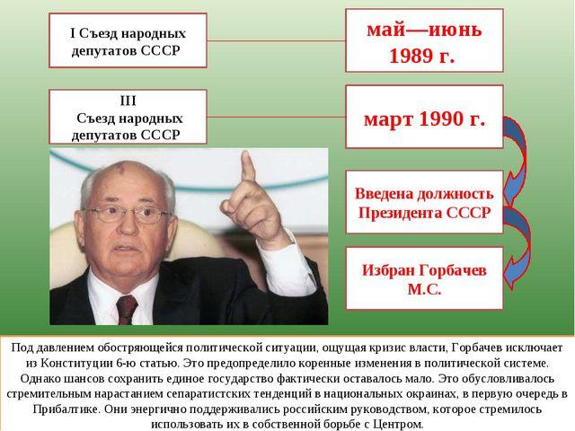 I Съезд народных депутатов СССР май—июнь 1989 г. Под давлением обостряющейся...