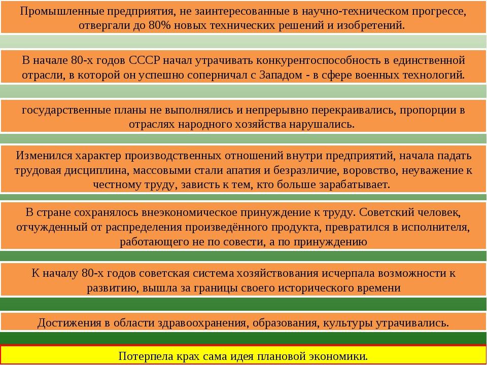 Потерпела крах сама идея плановой экономики. К началу 80-х годов советская си...