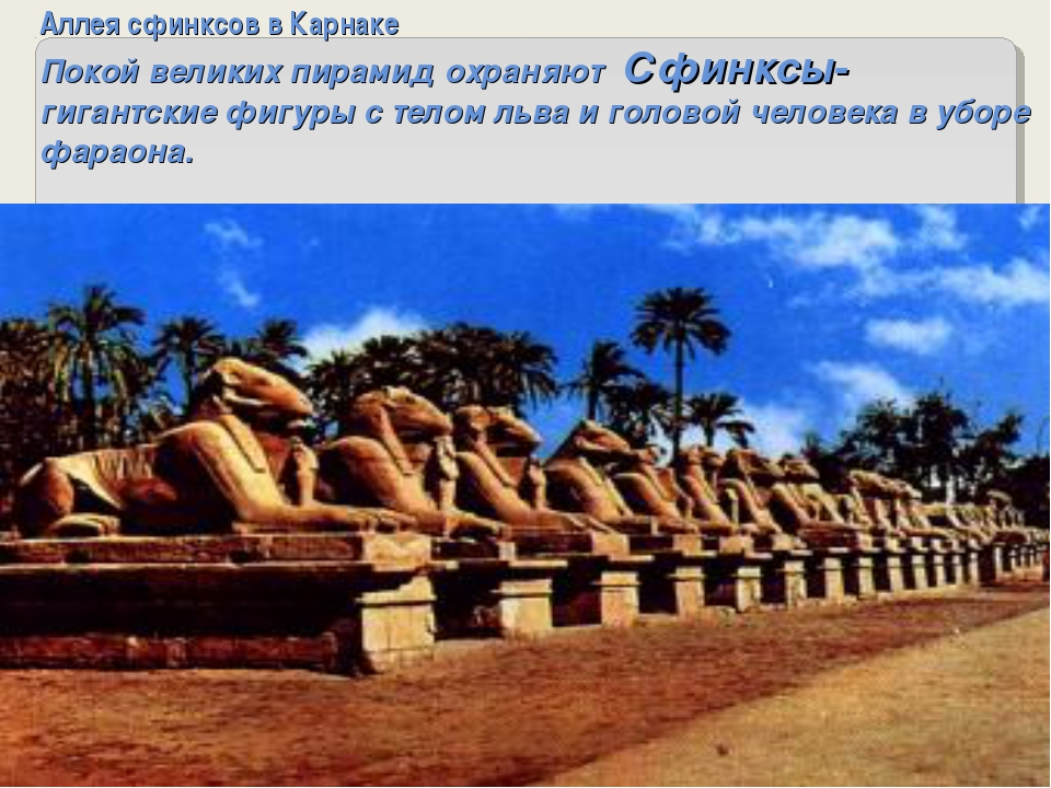 Аллея сфинксов в Карнаке Покой великих пирамид охраняют Сфинксы- гигантские ф...