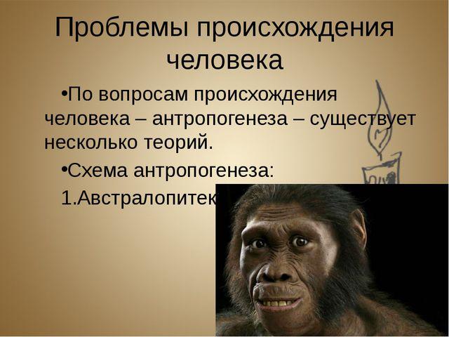 Проблемы происхождения человека По вопросам происхождения человека – антропог...