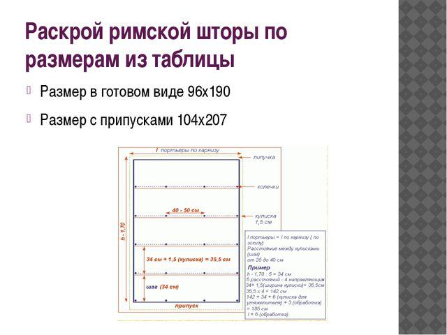 Раскрой римской шторы по размерам из таблицы Размер в готовом виде 96х190 Раз...