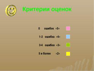 Критерии оценок 0 ошибок «5» 1-2 ошибка «4» 3-4 ошибки «3» 5 и более «2»