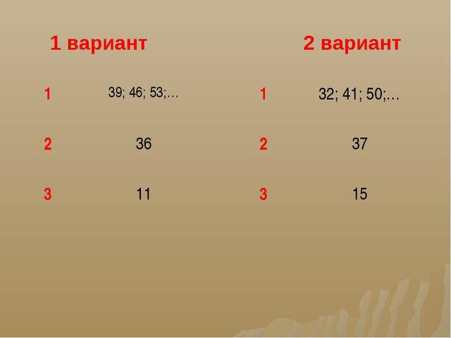 1 вариант 2 вариант 139; 46; 53;… 236 311 132; 41; 50;… 237 315