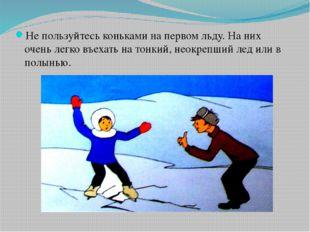 Не пользуйтесь коньками на первом льду. На них очень легко въехать на тонкий,