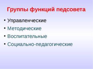 Группы функций педсовета Управленческие Методические Воспитательные Социально