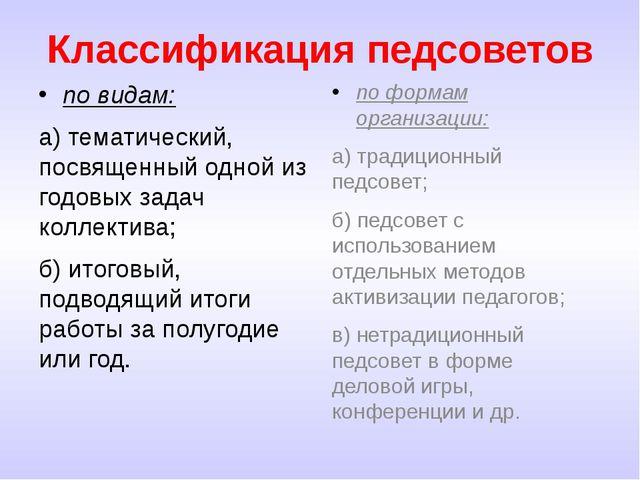 Классификация педсоветов по видам: а) тематический, посвященный одной из годо...