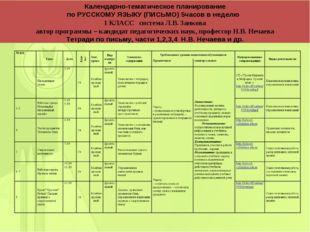 Календарно-тематическое планирование по РУССКОМУ ЯЗЫКУ (ПИСЬМО) 5часов в неде