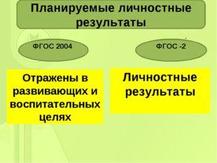 . Планируемые личностные результаты ФГОС 2004 ФГОС -2 Отражены в развивающих