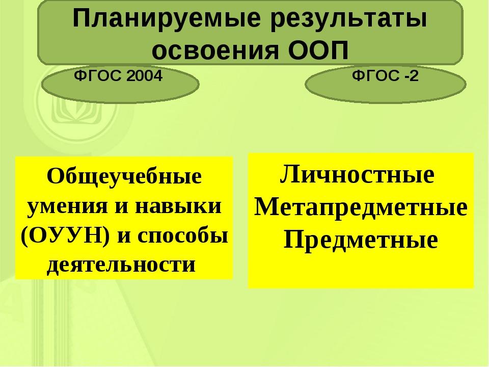 . Планируемые результаты освоения ООП ФГОС 2004 ФГОС -2 Общеучебные умения и...