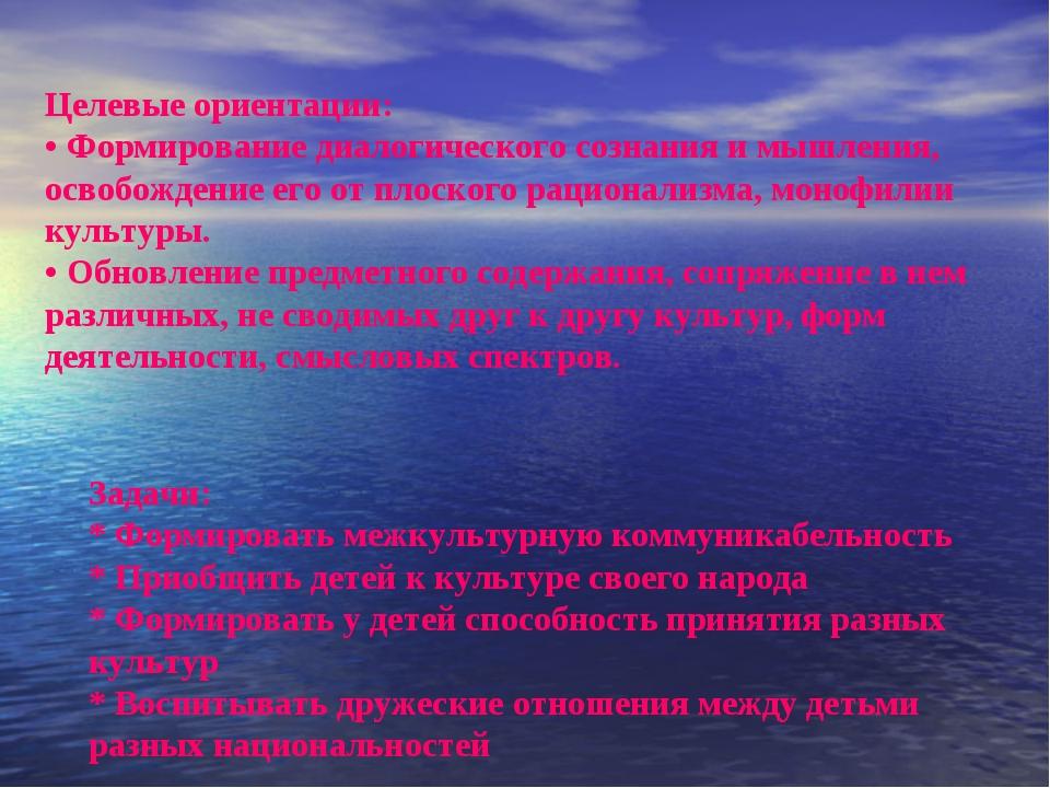 Целевые ориентации: • Формирование диалогического сознания и мышления, освобо...