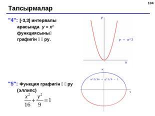 """* Тапсырмалар """"4"""": [-3,3] интервалы арасында y = x2 функциясының графигін құр"""