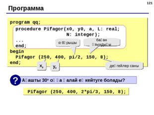 * Программа program qq; procedure Pifagor(x0, y0, a, L: real; N: integer); ..
