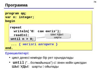 * Программа program qq; var n: integer; begin repeat writeln('Введите положит