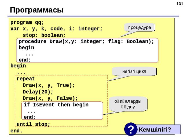 * Программасы program qq; var x, y, k, code, i: integer; stop: boolean; begin...