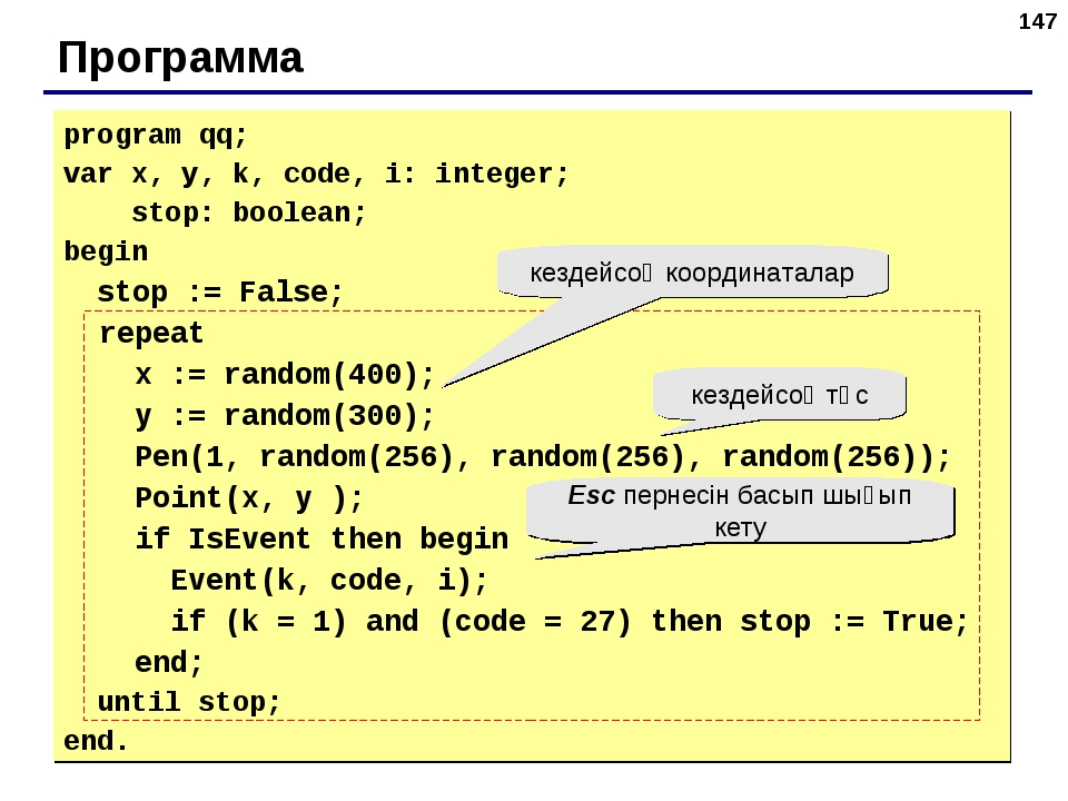 * Программа program qq; var x, y, k, code, i: integer; stop: boolean; begin s...