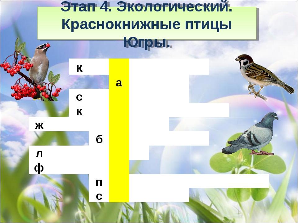 Этап 4. Экологический. Краснокнижные птицы Югры.  к...