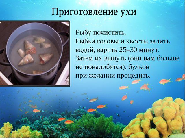 Приготовление ухи Рыбу почистить. Рыбьи головы ихвосты залить водой, варить...