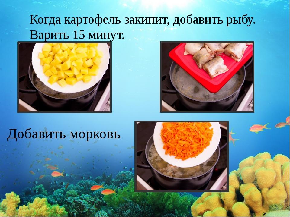 Когда картофель закипит, добавить рыбу. Варить 15минут. Добавить морковь.