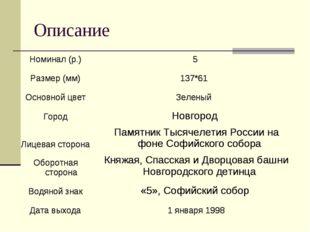 Описание Номинал (р.)5 Размер (мм)137*61 Основной цветЗеленый ГородНов